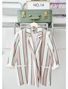 Striped Blazer Pink & Emerald