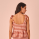 Tie Strap Checked Peplum Top