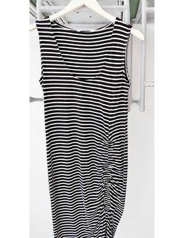 Black with White Stripes Midi
