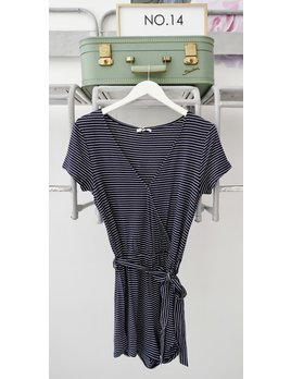 Navy & White Striped Jersey Romper