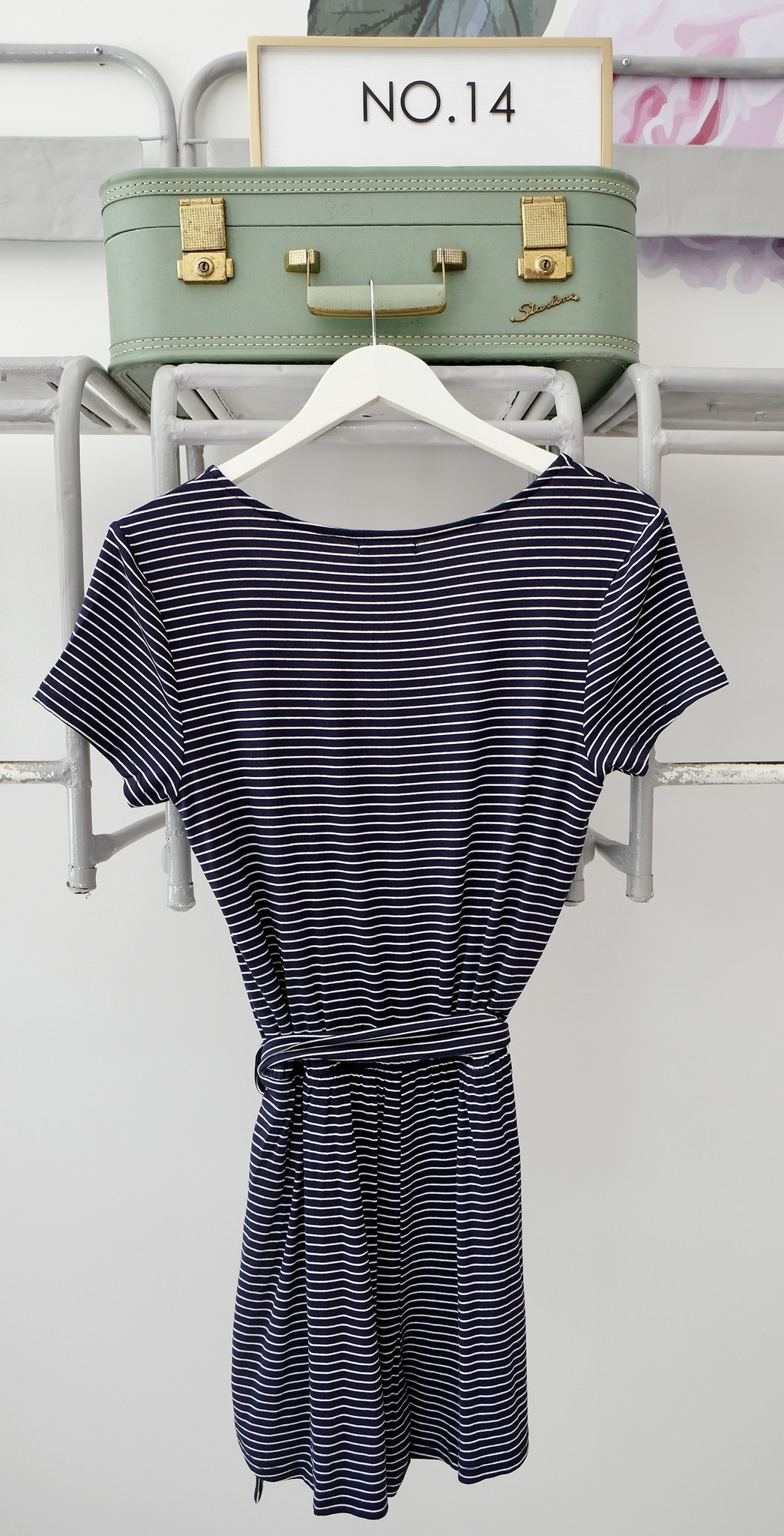 Navy & White Striped Jersey Romper