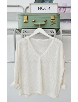 Cream Long Sleeve Lightweight Knit