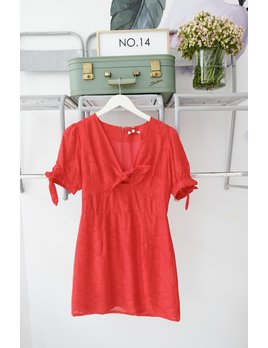 Puff Sleeve Front Twist Red Dress