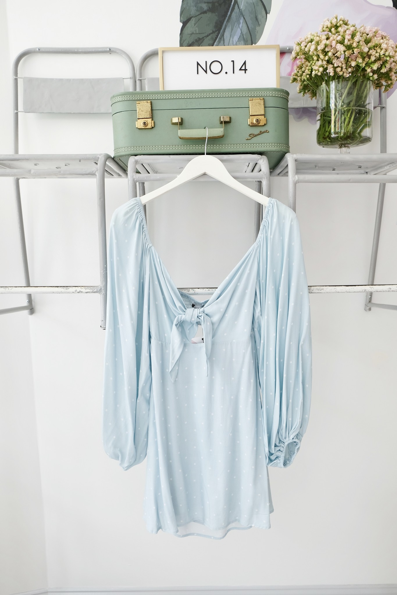 Blue & White Polka Dot Dress