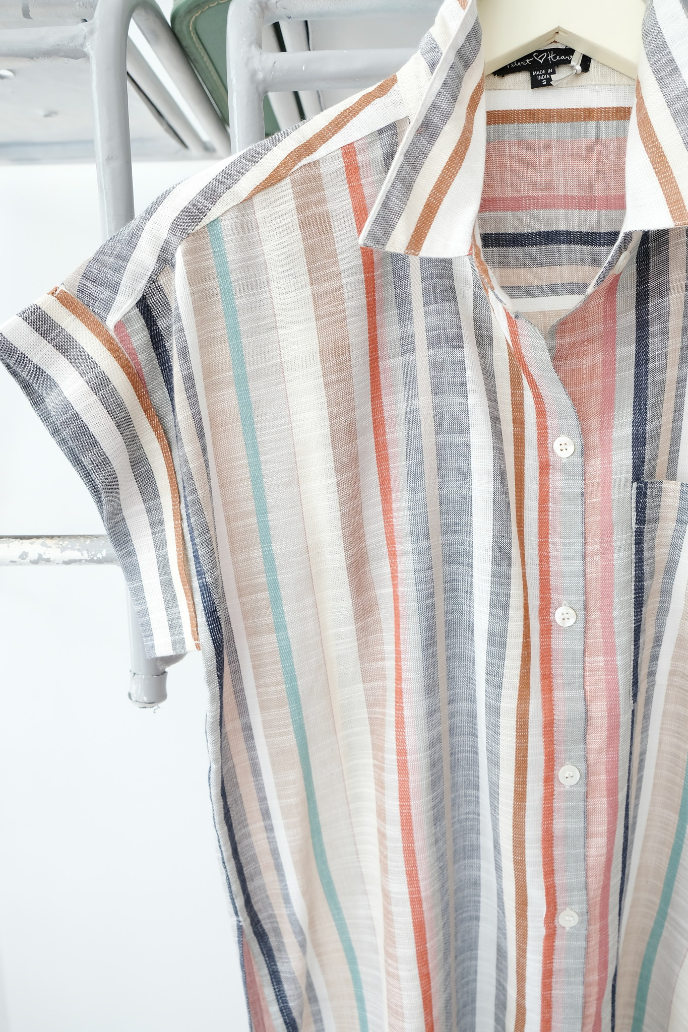 Short Sleeve Striped Button Down