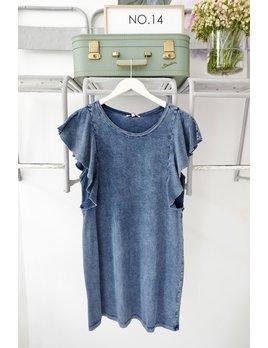 Knit Denim Ruffle Sleeve Dress
