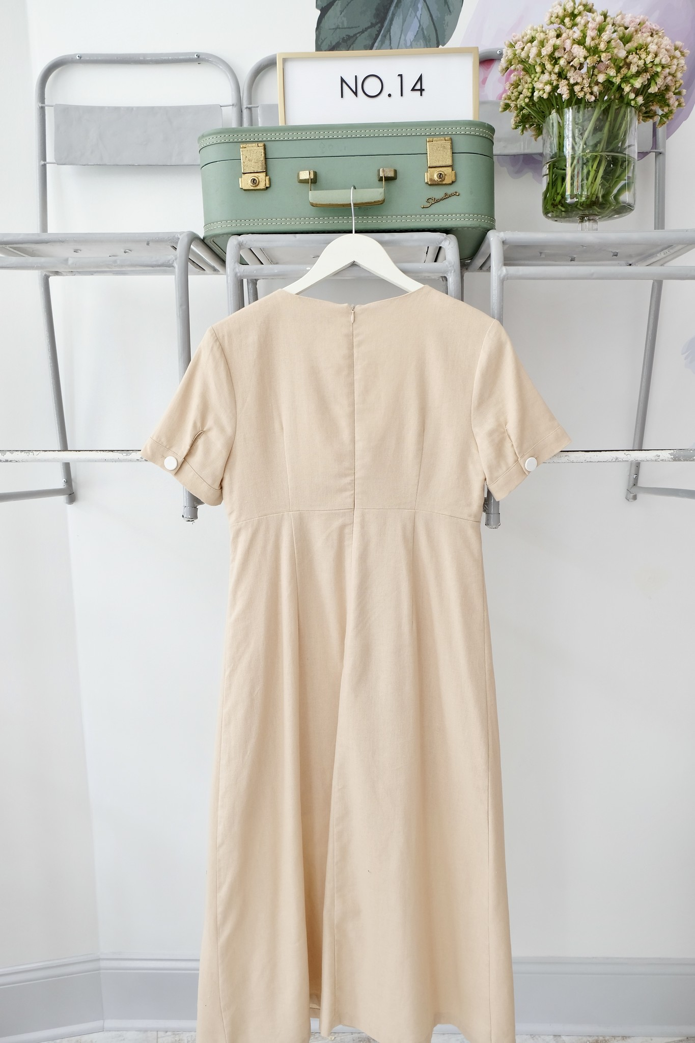 Tan Maxi Dress with White Buttons