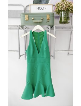 Green Cutout Back Geometric Dress