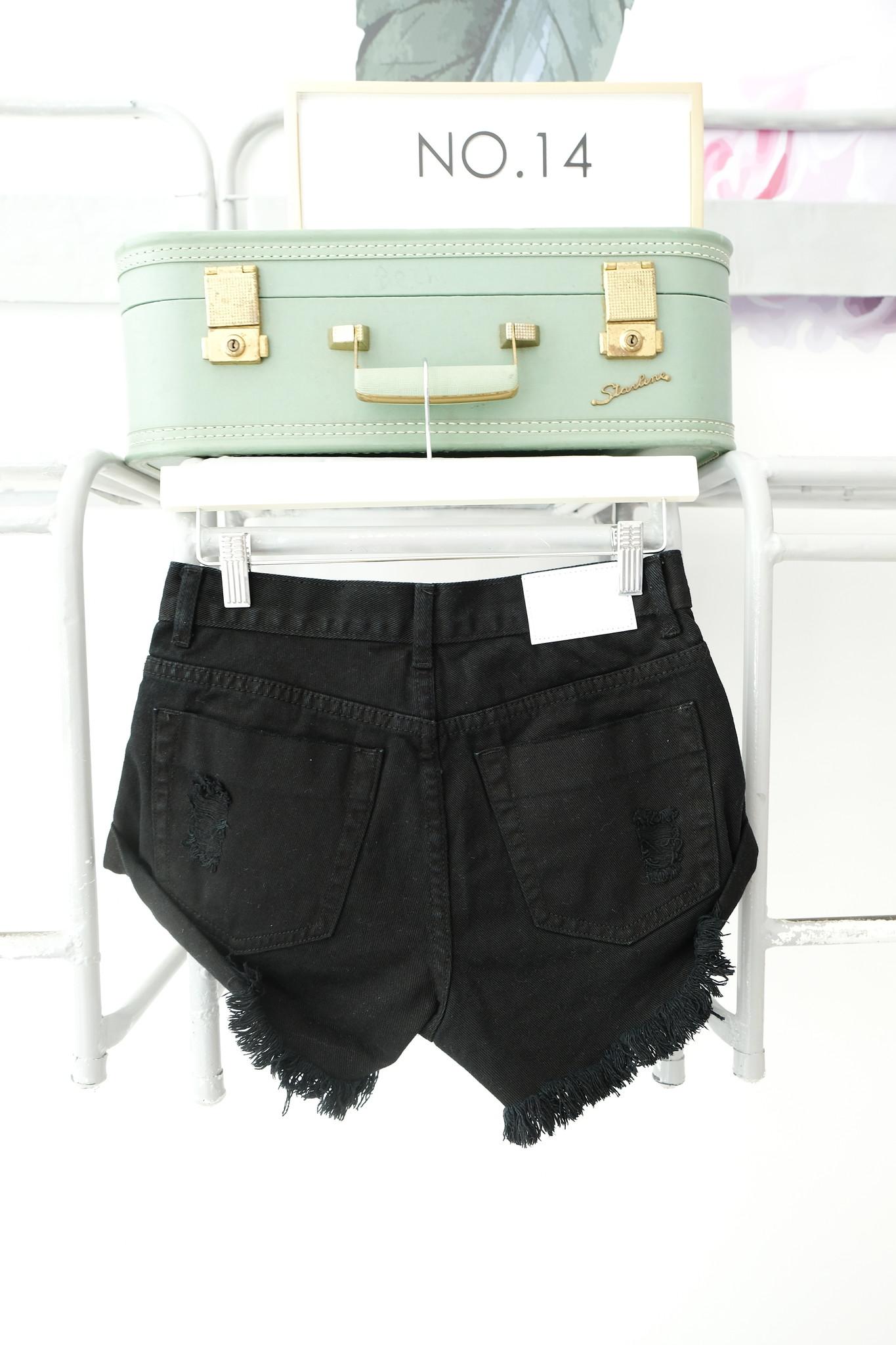 Cutoff Black Denim Shorts