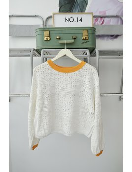 Crochet Yellow Lined Sweater