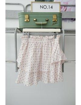 Pink & Blue Linen Dot Skirt