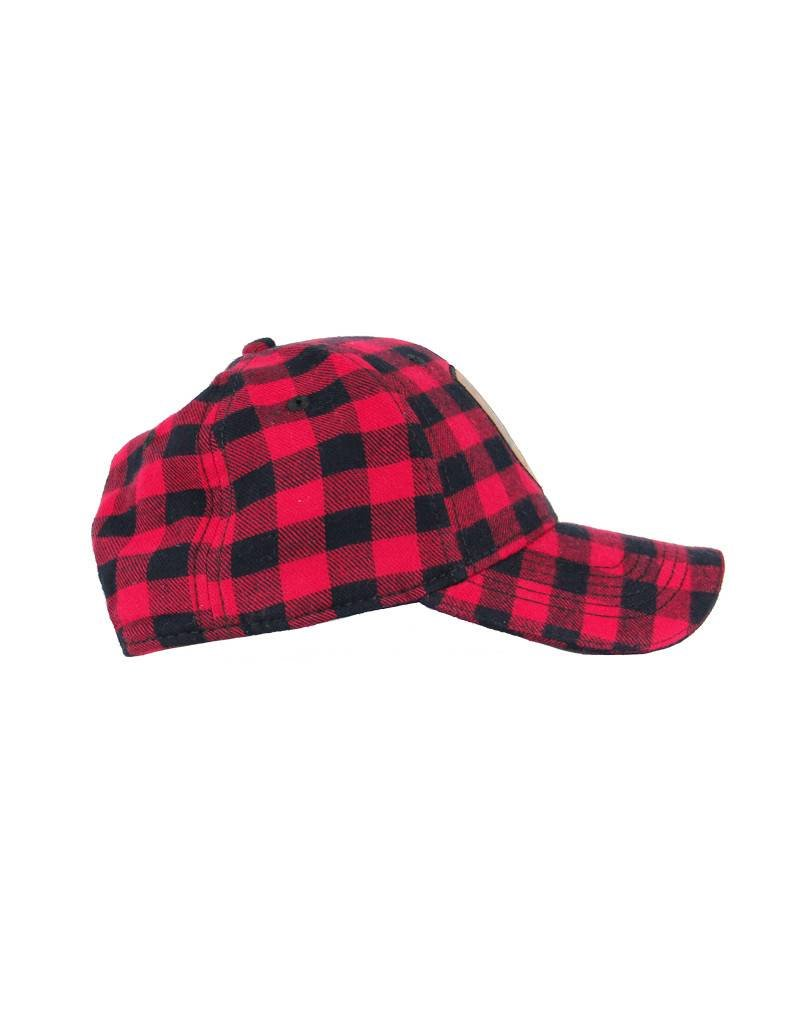 Buffalo Plaid Leather Patch Hat