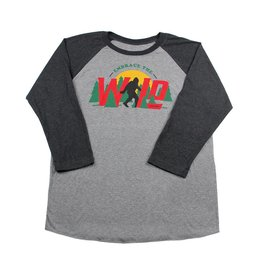 Embrace Your Wild Raglan T Shirt Heather Grey/Black