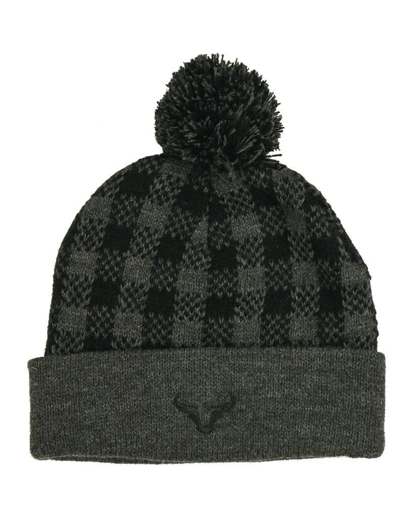 Plaid Knit Steer Horn Beanie