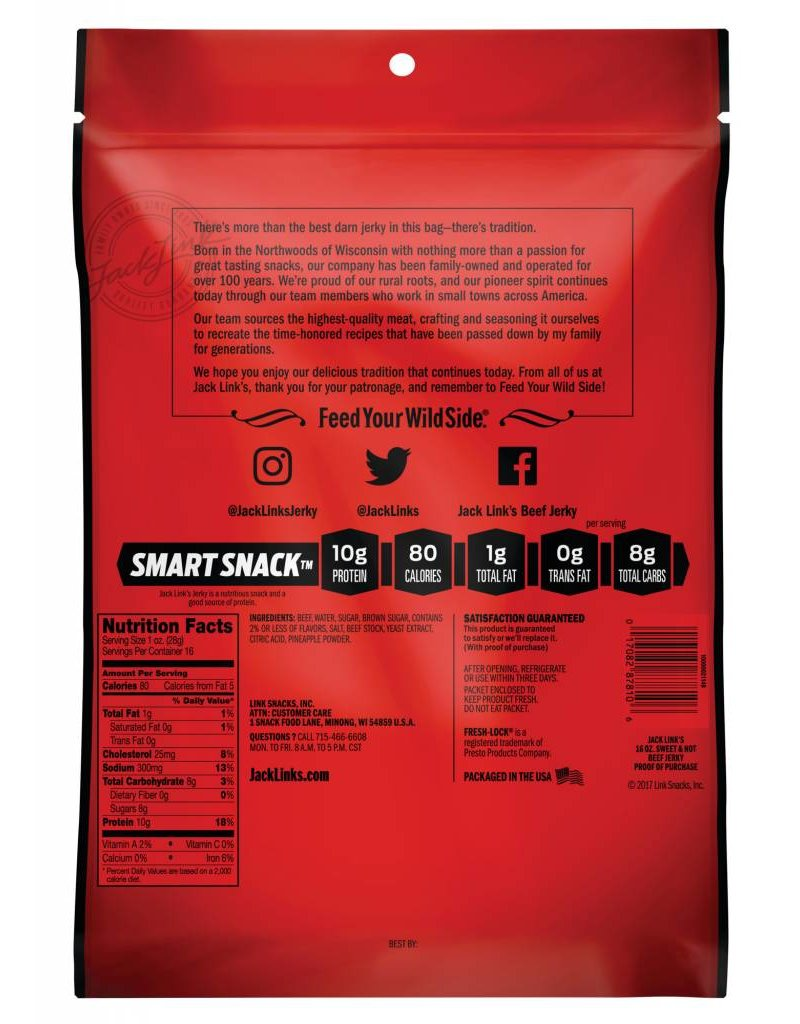 Sweet and Hot Beef Jerky, 16 oz