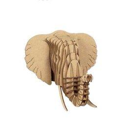 Cardboard Safari Cardboard Safari Leon Elephant Bust - Nano - Brown