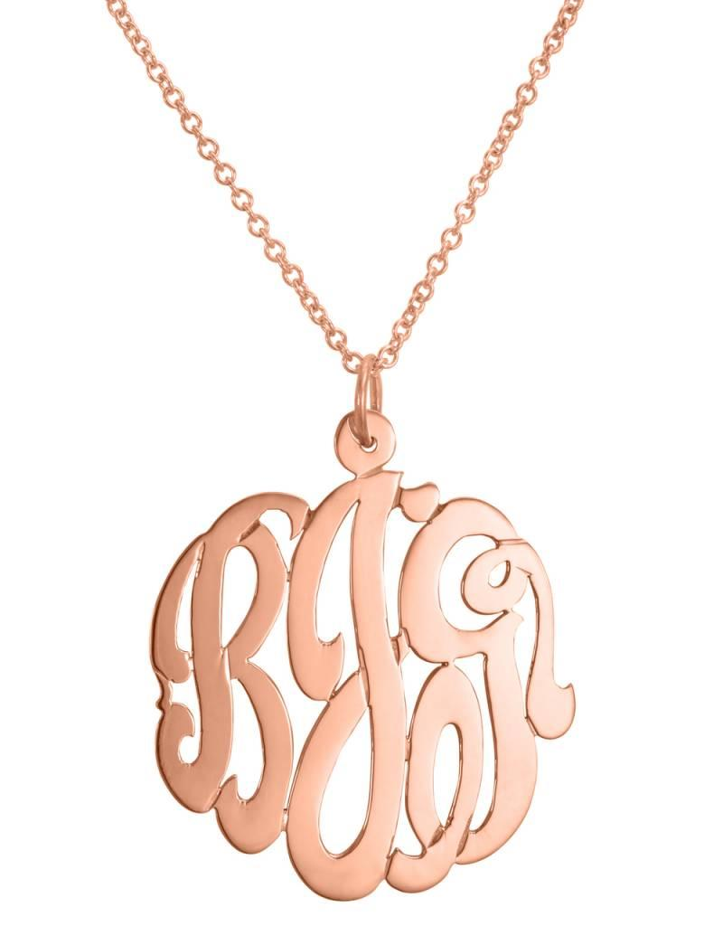 Rose Gold Cut Out Monogram Initial Necklace