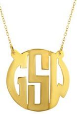 Gold Vermeil Cut Out Monogram Initial Necklace