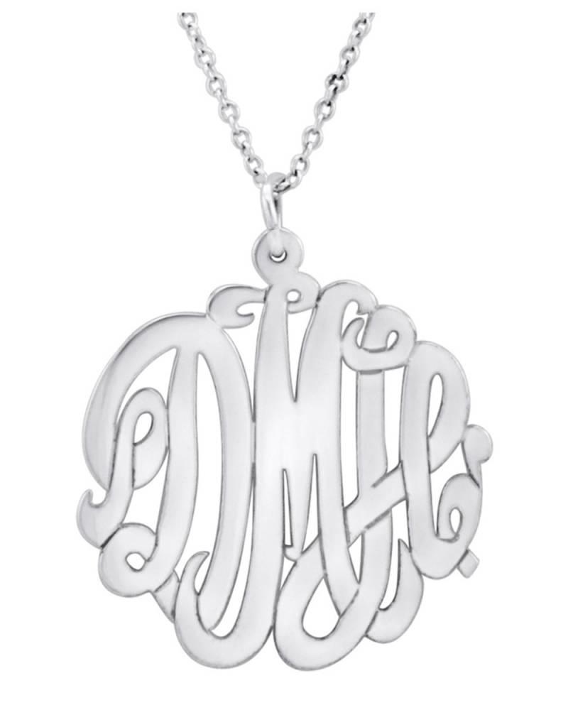 Sterling Silver Cut Out Monogram Initial Necklace
