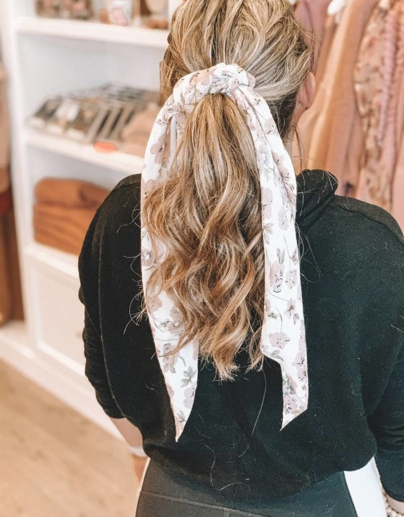 Long Flower Print Tail Scrunchie