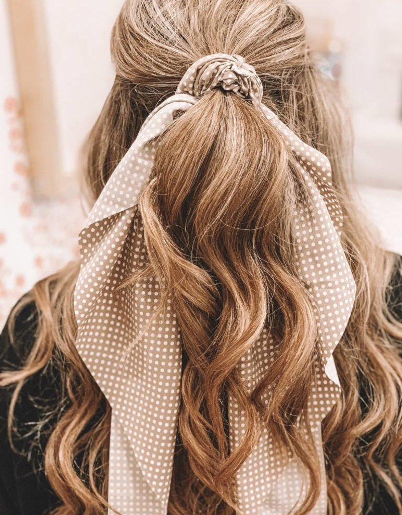 Polka Dotted Long Tail Scrunchie