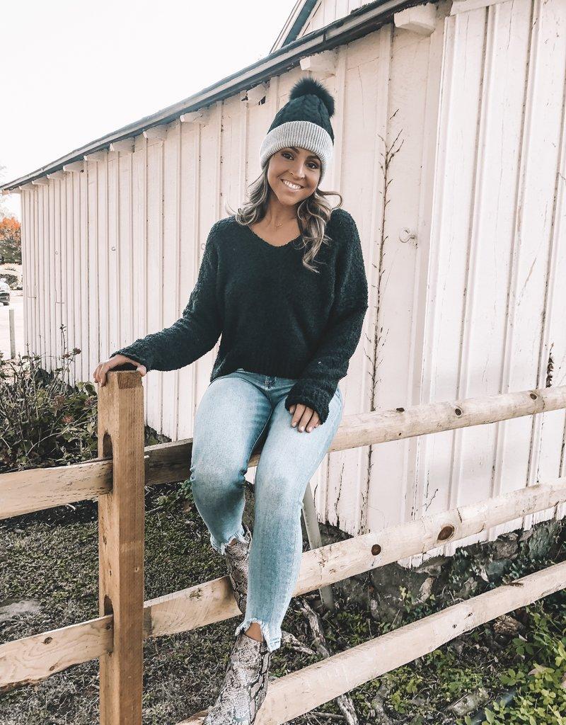Shawna Hat With Fur Pom