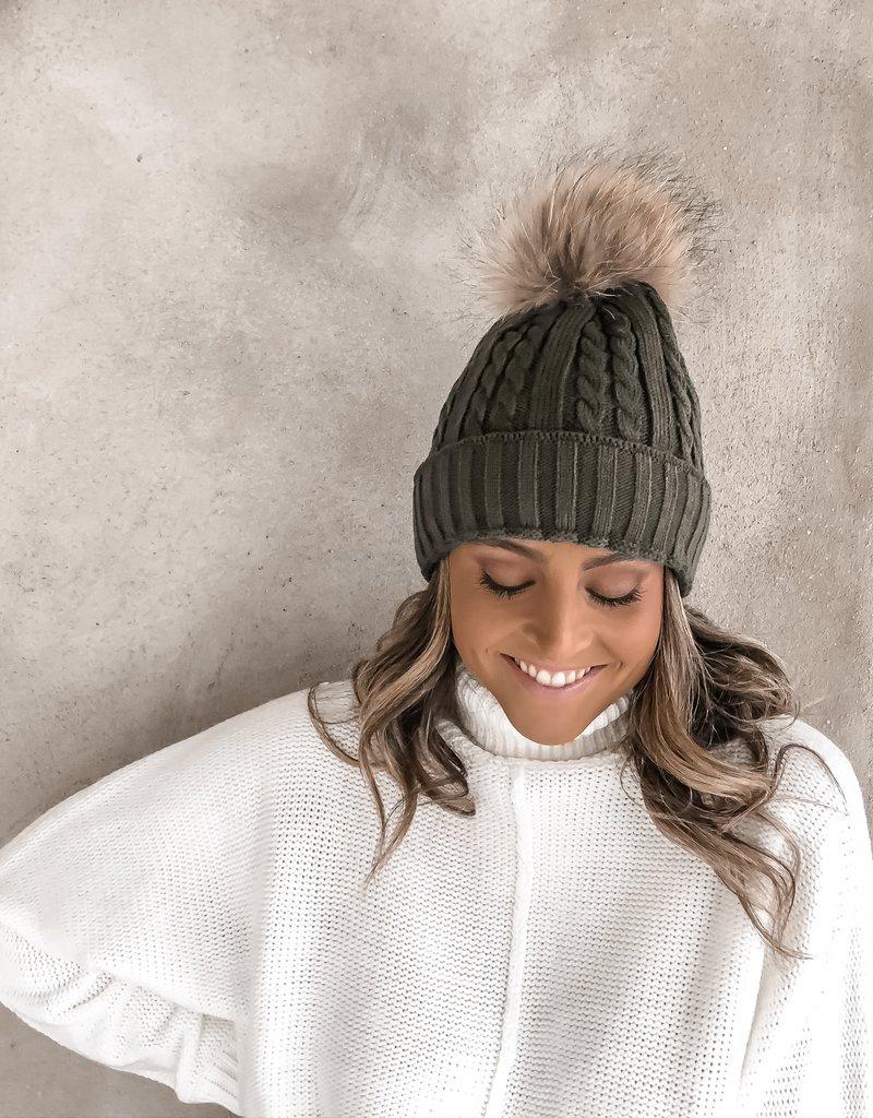 Stella Hat W/Fur Pom
