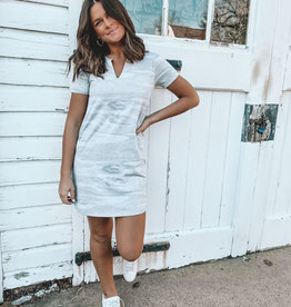 Z-Supply Camo Split Neck Dress Grey