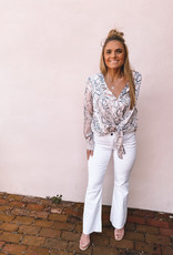 Stella Kick  Flare With Raw Hem White