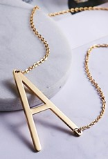 Large Sideways Initial Necklace, Gold