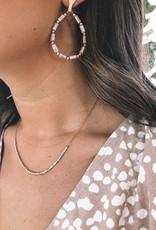 Beaded Greige Earring & Necklace Gift Set