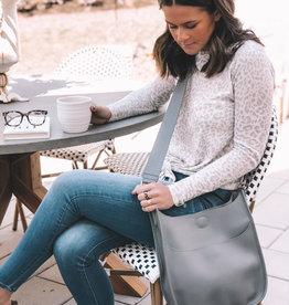 Grey/Grey Stud Large Vegan Leather Messenger Bag Combo
