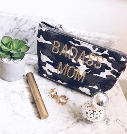 "Grey Camo w/Gold ""BADASS MOM"" MakeUp Bag"