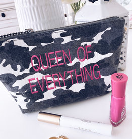 "Grey Camo w/Hot Pink ""Queen Of Everything"" MakeUp Bag"