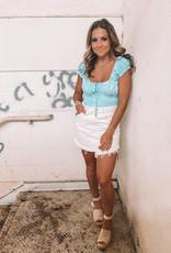 Free People Bailey Denim Mini Skirt Cream