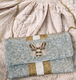 Bee & Line Beaded Clutch