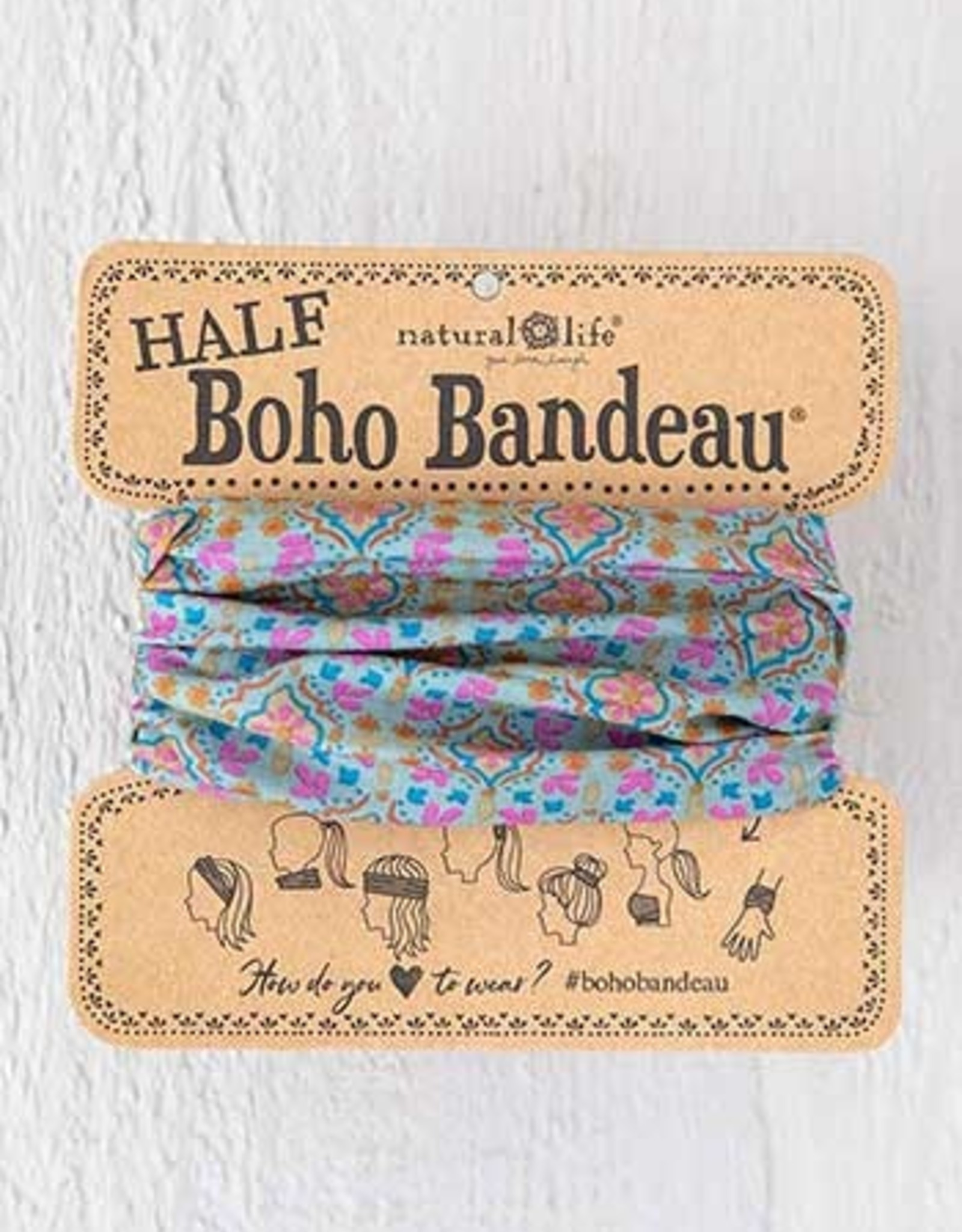 Half Boho Bandeau Turq Orange Stamp