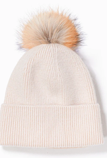 Cashmere Blended Ribbed Knit Beanie Ivory