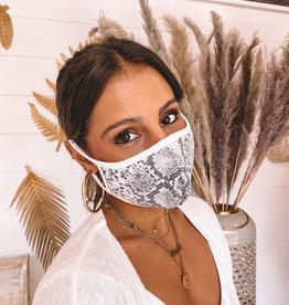 Grey Python cloth mask