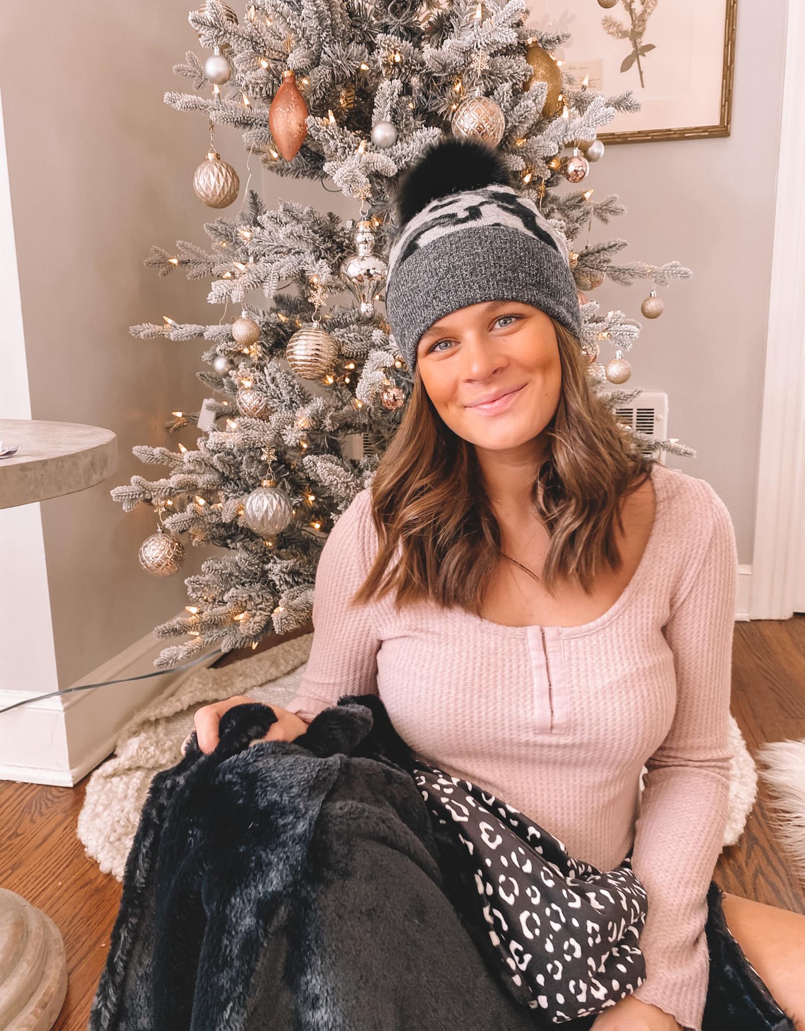 Knit Camo Hat W/Real Fox Fur Pom