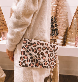 Leopard Pink Beaded Clutch