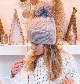 Cashmere Blended Ribbed Knit Beanie Lavender