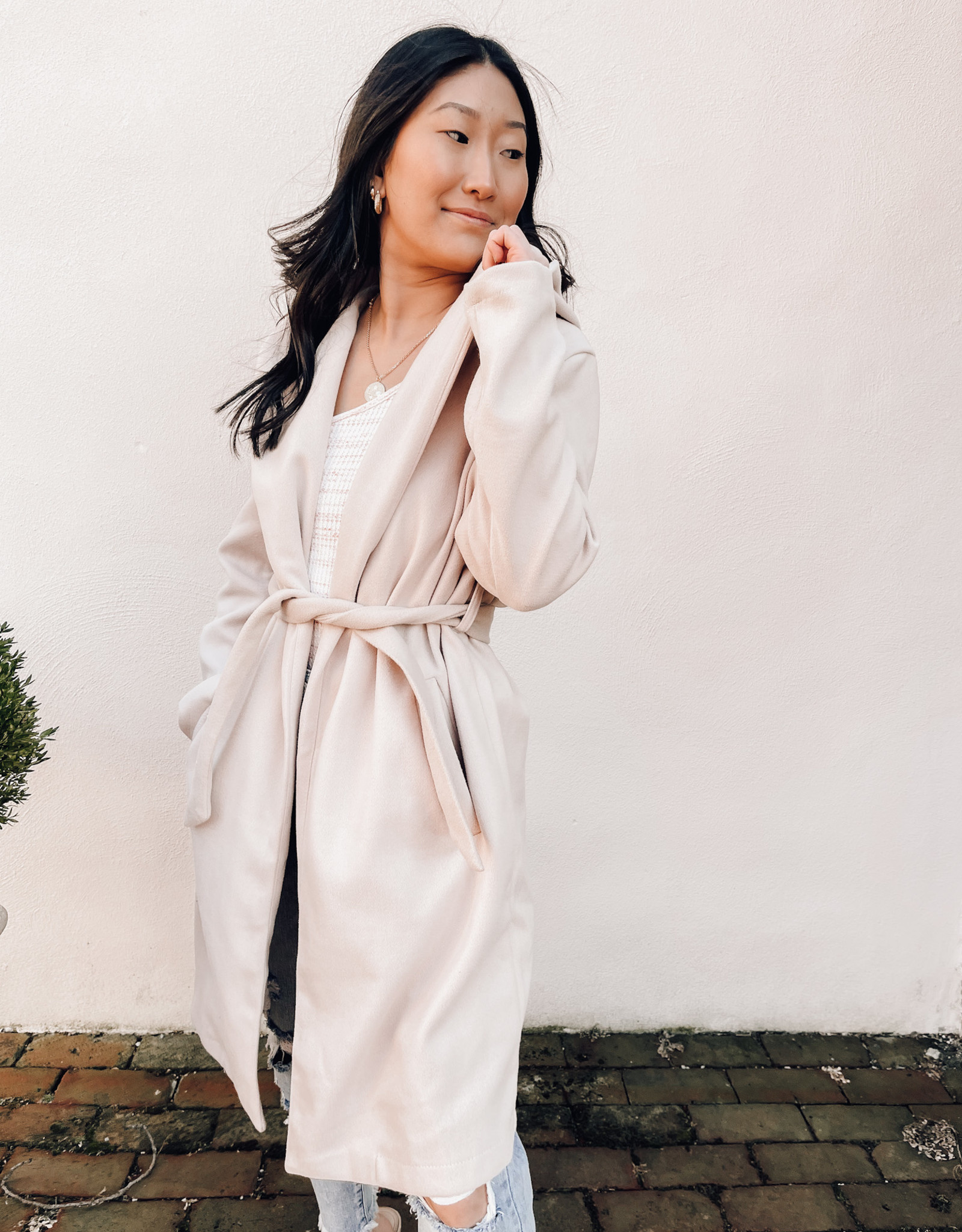Hooded Coat with Tie  Waist