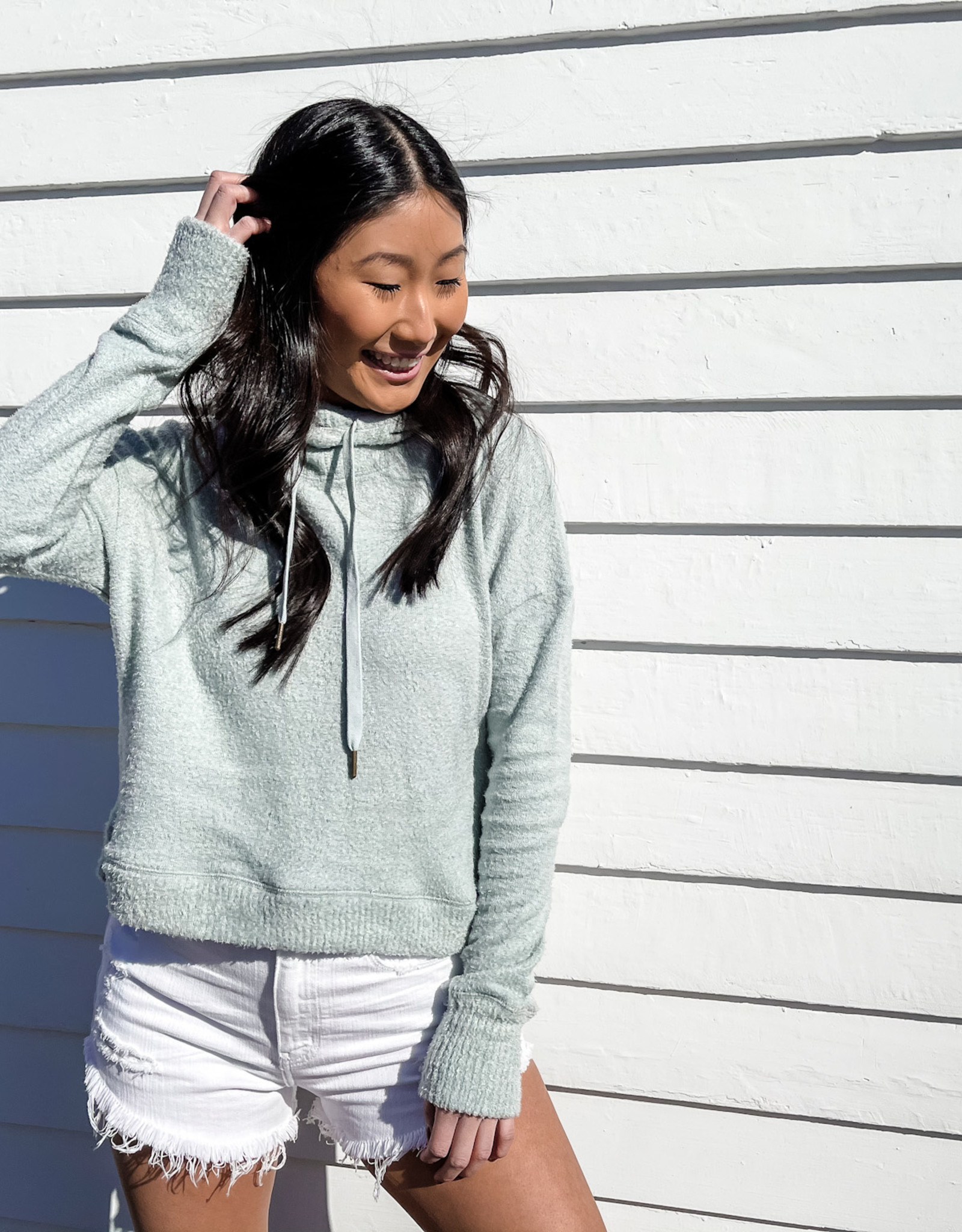 Z Supply Kacey Feather Hoodie Mint Ash