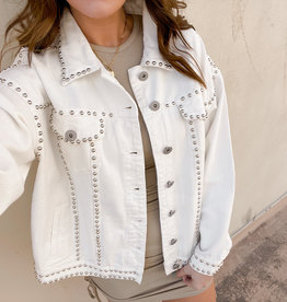Corolla White Studded Denim Jacket