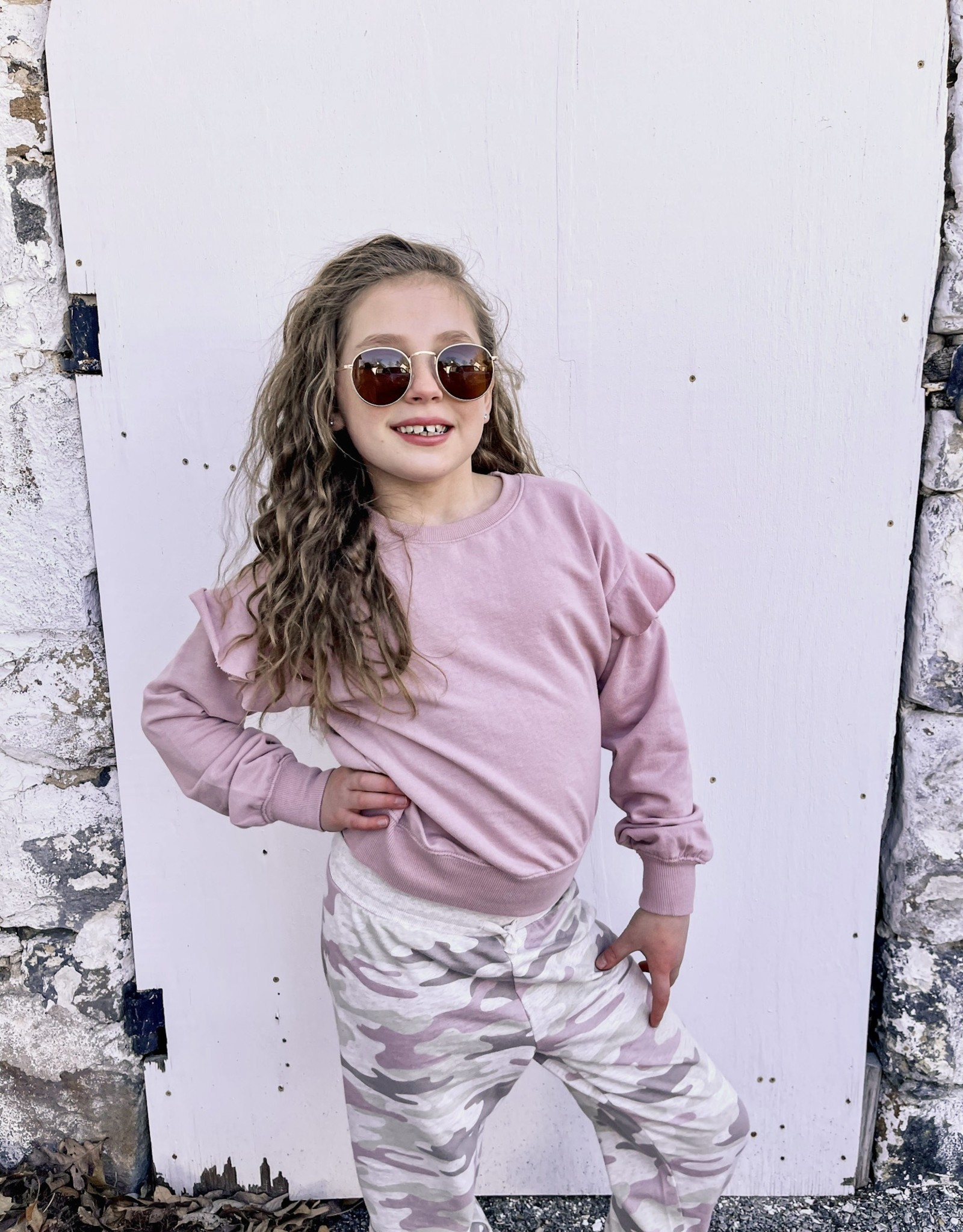 Z Supply Girls Alana Ruffle Long Sleeve Top