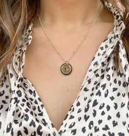 Designer Inspired Chanel Enamel Necklace Black