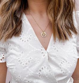 Designer Inspired Chanel Enamel Necklace White
