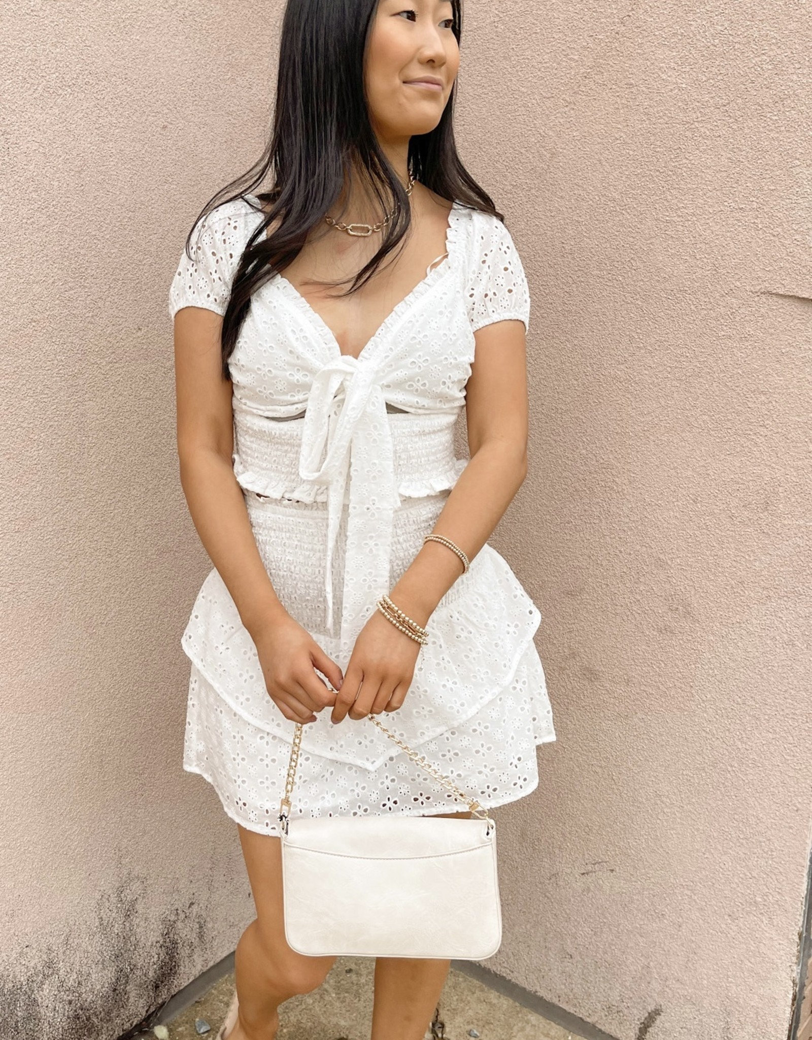 Brently Smocked Tiered Eyelet Skirt
