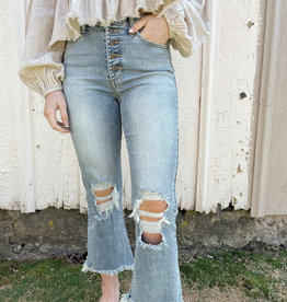 Kealy Medium Wash High-Rise Distressed Jeans